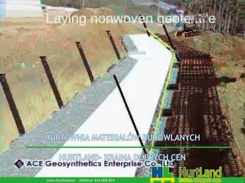 Geosyntetyki – Budowa ścianki oporowej wzmocnionej owiniętym (animacja 2D) – Geosyntetyki ACE